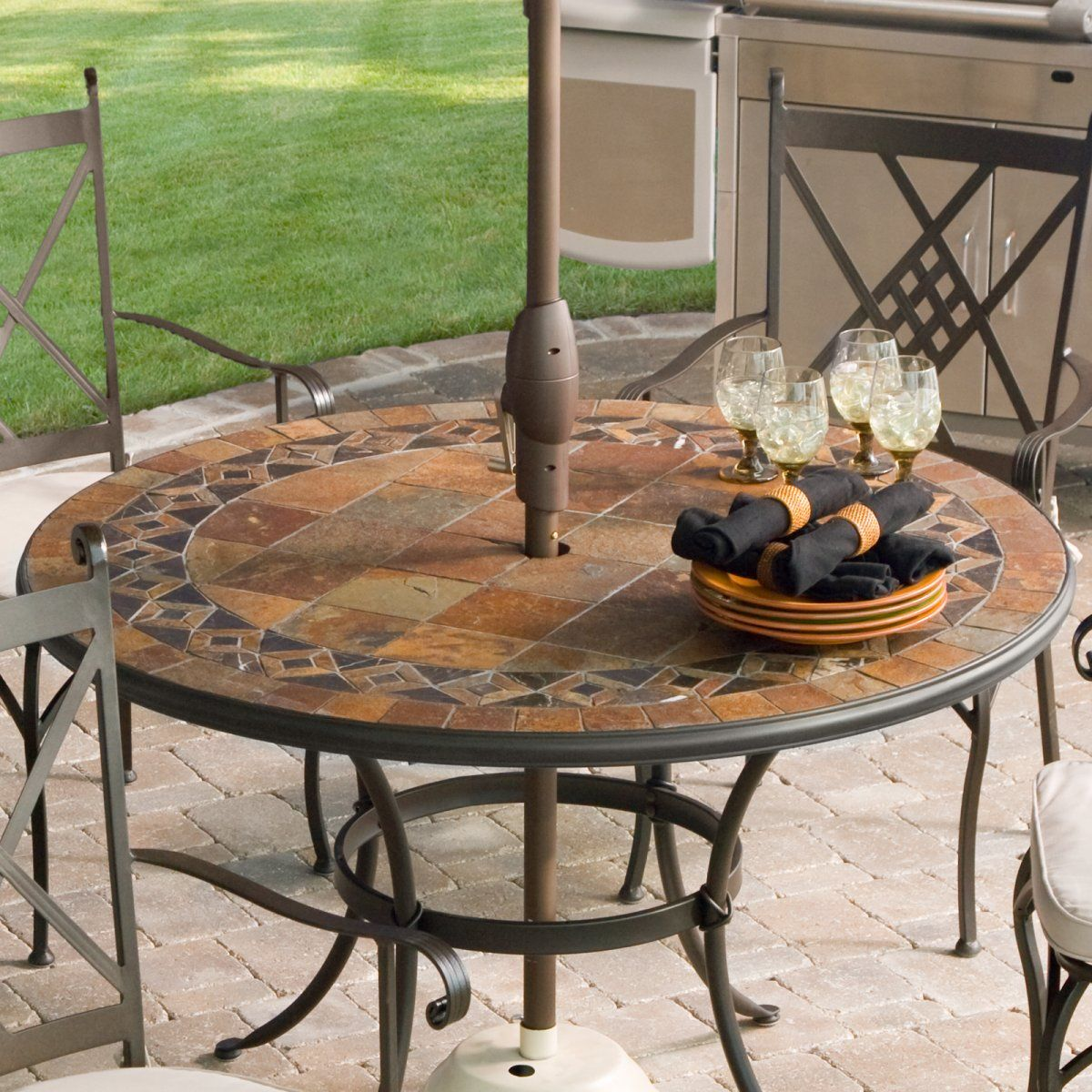 Palazetto Lucca 48 Inch Round Mosaic Patio Dining Set Seats 4