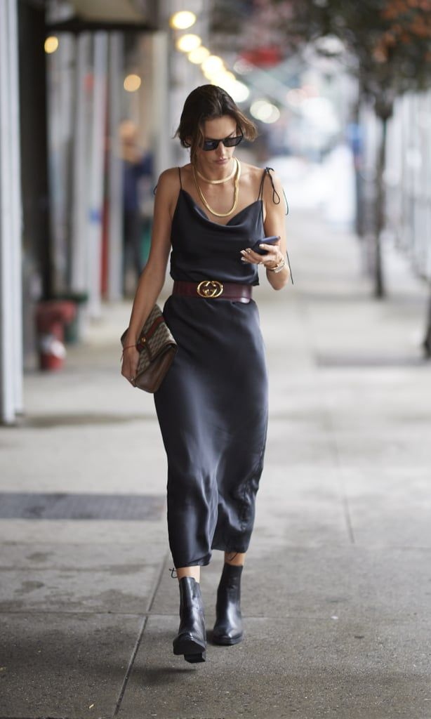 Alessandra Ambrosio Walked the Streets During NYFW in a Gray Slip Dress and Gucci Belt