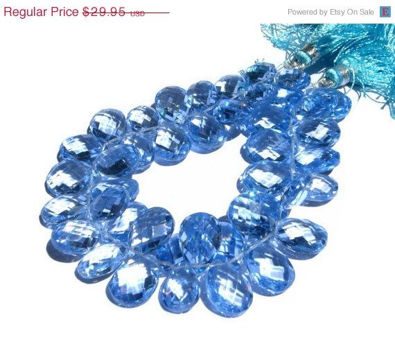 ON SALE 10 Pcs - Super Finest AAA Sky Blue Corundum Quartz Faceted Pear Briolettes Size 12x8 - 13x9mm approx