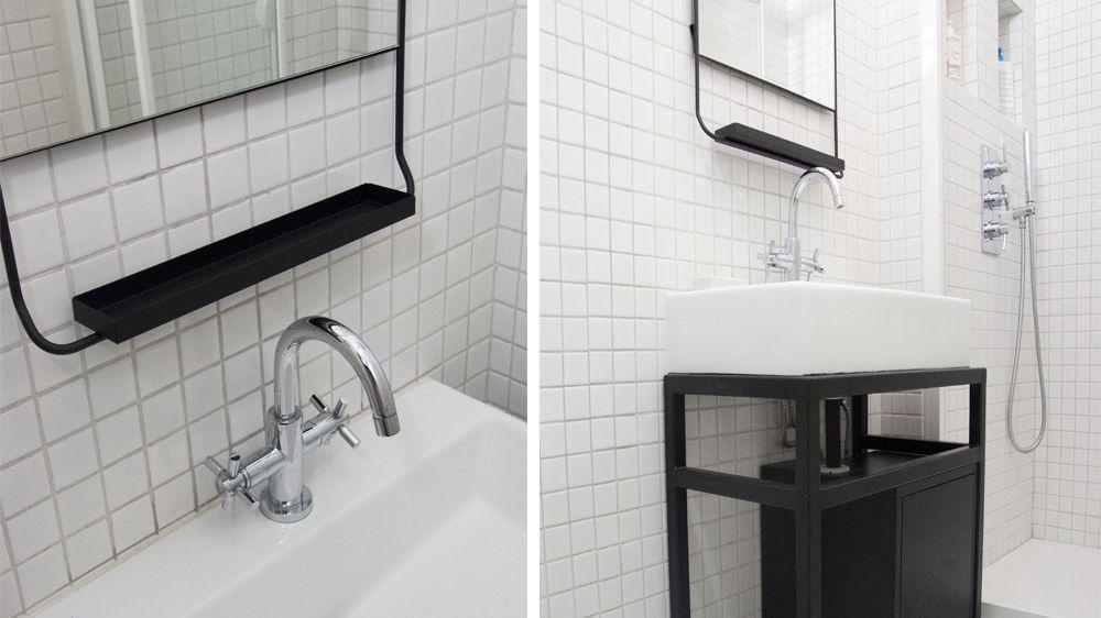 Avant / Après  Du noir  blanc pour sublimer une petite salle de bains