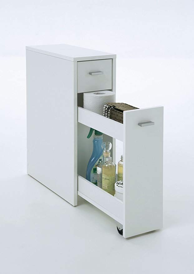 Pureday Schmaler Badezimmerschrank Mit Schublade Mdf Weiss Ca T45 X B20 X H61 Cm Meuble Rangement Salle De Bain Rangement Salle De Bain Armoire Salle De Bain
