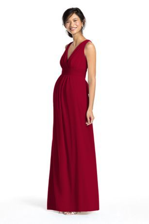 6b3ffbfe1fe Bring a whimsical feel with full comfort and style in this long mesh maternity  dress! V-neck bodice features finely pleated neckline.