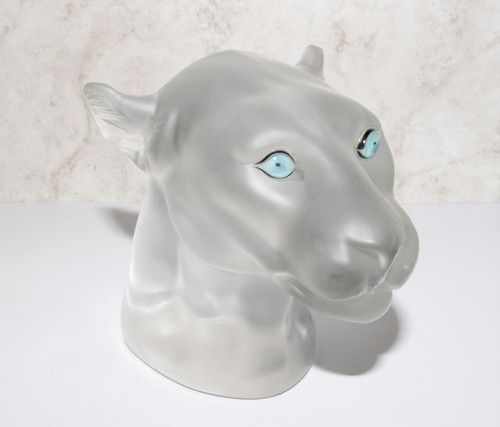 Saint Louis France Crystal Frosted Leopard Head Sculpture Paperweight Figurine | eBay
