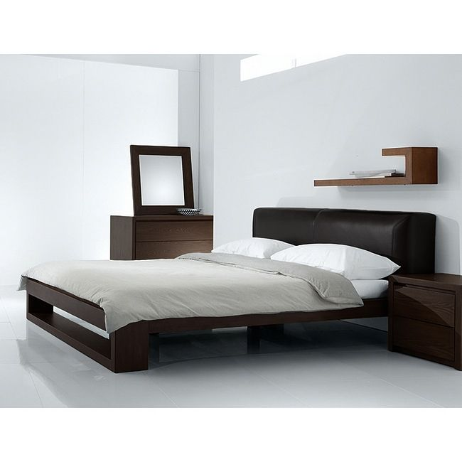 modern queen bed platform with headboard and dressers mirror - Modern Queen Bed Frame