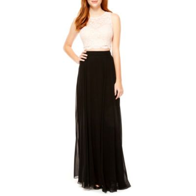 City Triangle Sleeveless Lace Evening Gown-Juniors - JCPenney