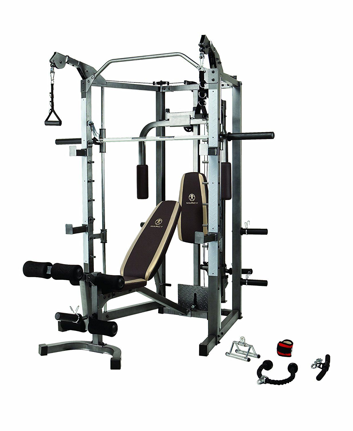 Marcy Combo Smith Cage Machine With Workout Bench And Weight Bar Sm 4008