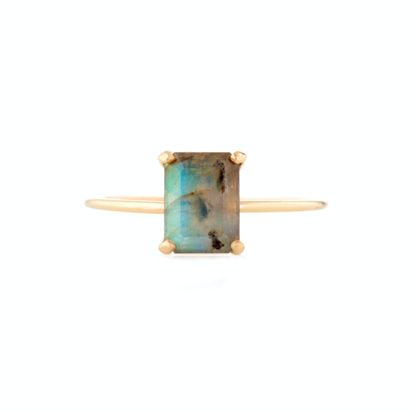 Emerald Cut Labradorite Ring Natalie Marie Jewellery