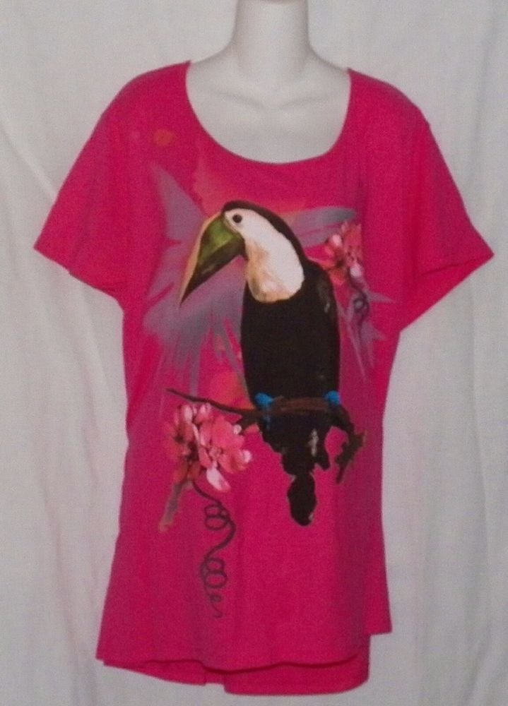 Pink with Tucan Graphics Size 5X 30w-32w JMS Blouse Shirt   New #JMS #KnitTop #Casual