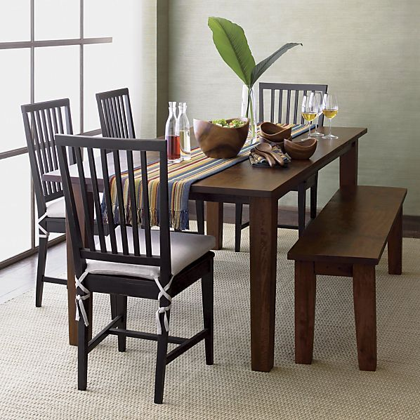 village bruno black wood dining chair and natural cushion | crates