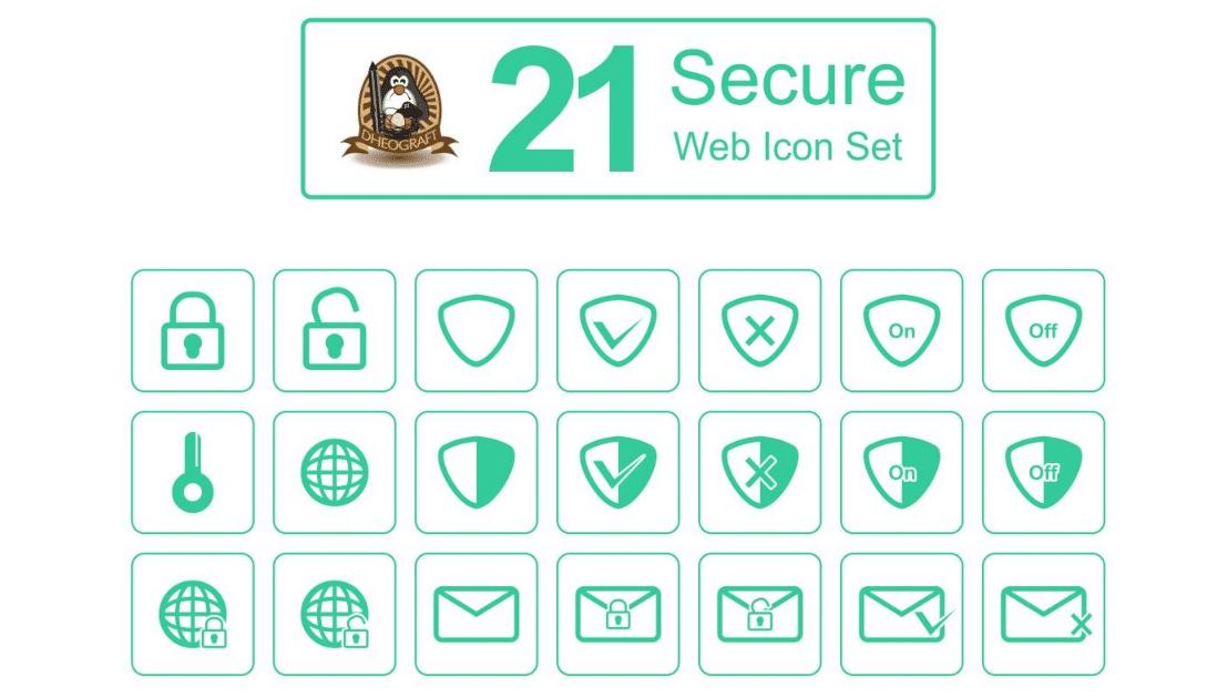 Download 21 Secure Web Icon Set di 2020