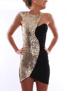 9834cf80aec ärmelloses Kleid mit Pailletten-schwarz und gold