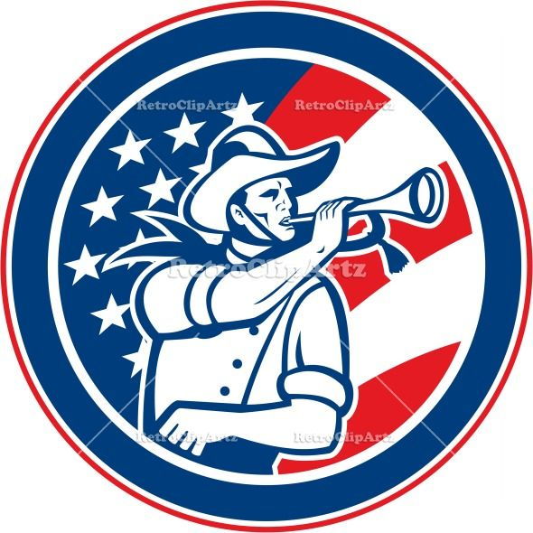 america, american, army, artwork, blowing, bugle, cavalry, circle, flag, graphics, horn,
