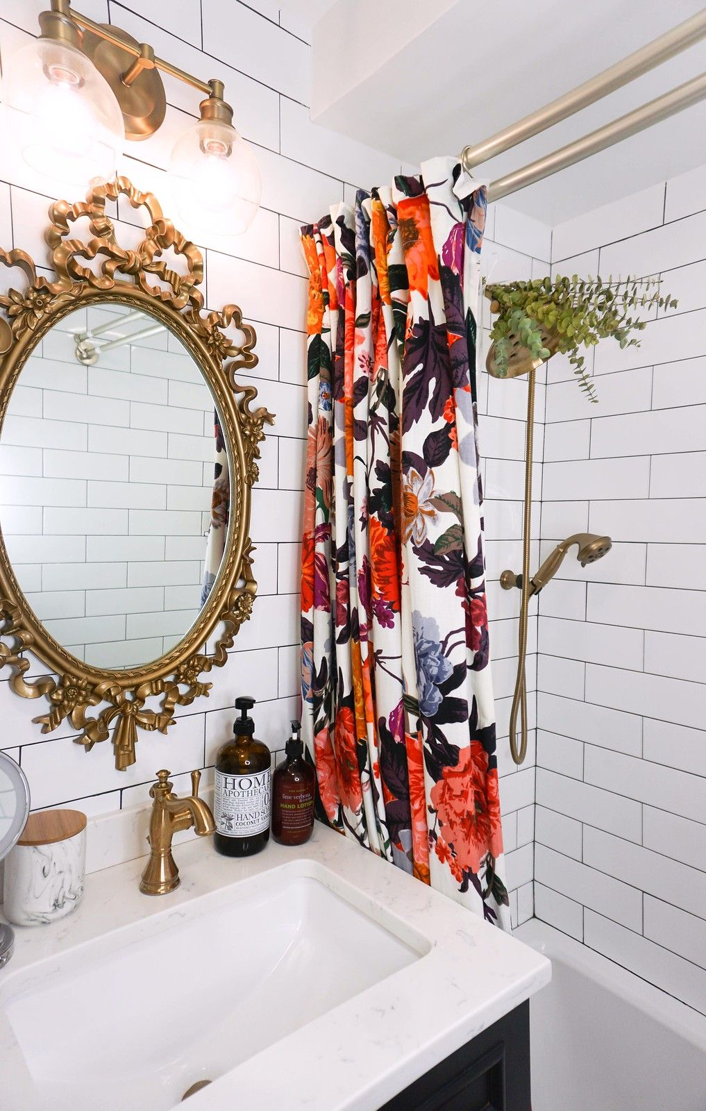 Currently Obsessed With Vintage Gold Mirrors Living After Midnite Floral Shower Curtains Vintage Bathroom Mirrors Vintage Gold Mirror