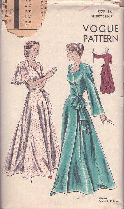 34e544ebf5 MOMSPatterns Vintage Sewing Patterns - Vogue 6140 Vintage 40 s Sewing  Pattern DIVINE Hitchcock Hollywood Film Starlet FULL Skirt Basque Waist Wrap  Around ...