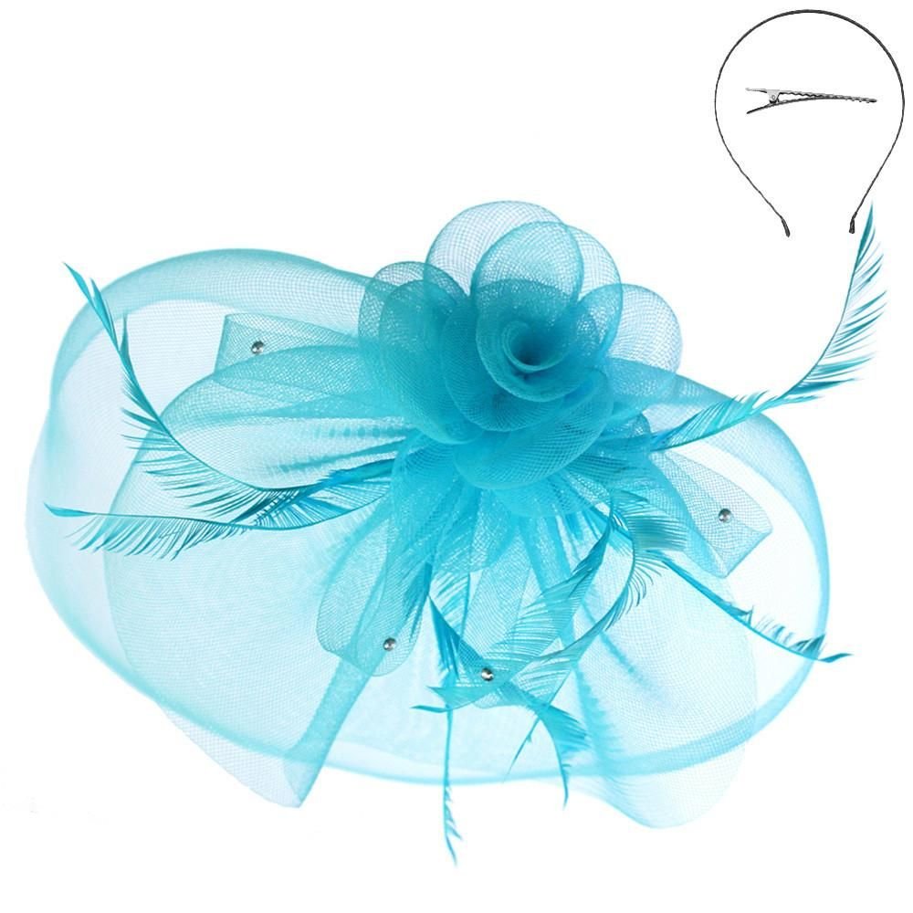 Large Mesh Flower and Feather FascinatorBlue