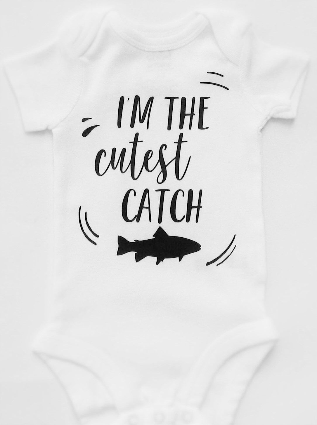 26f104e1 I'm The Cutest Catch, Funny Baby Onesies, Fishing Onesie, Fish Onesie