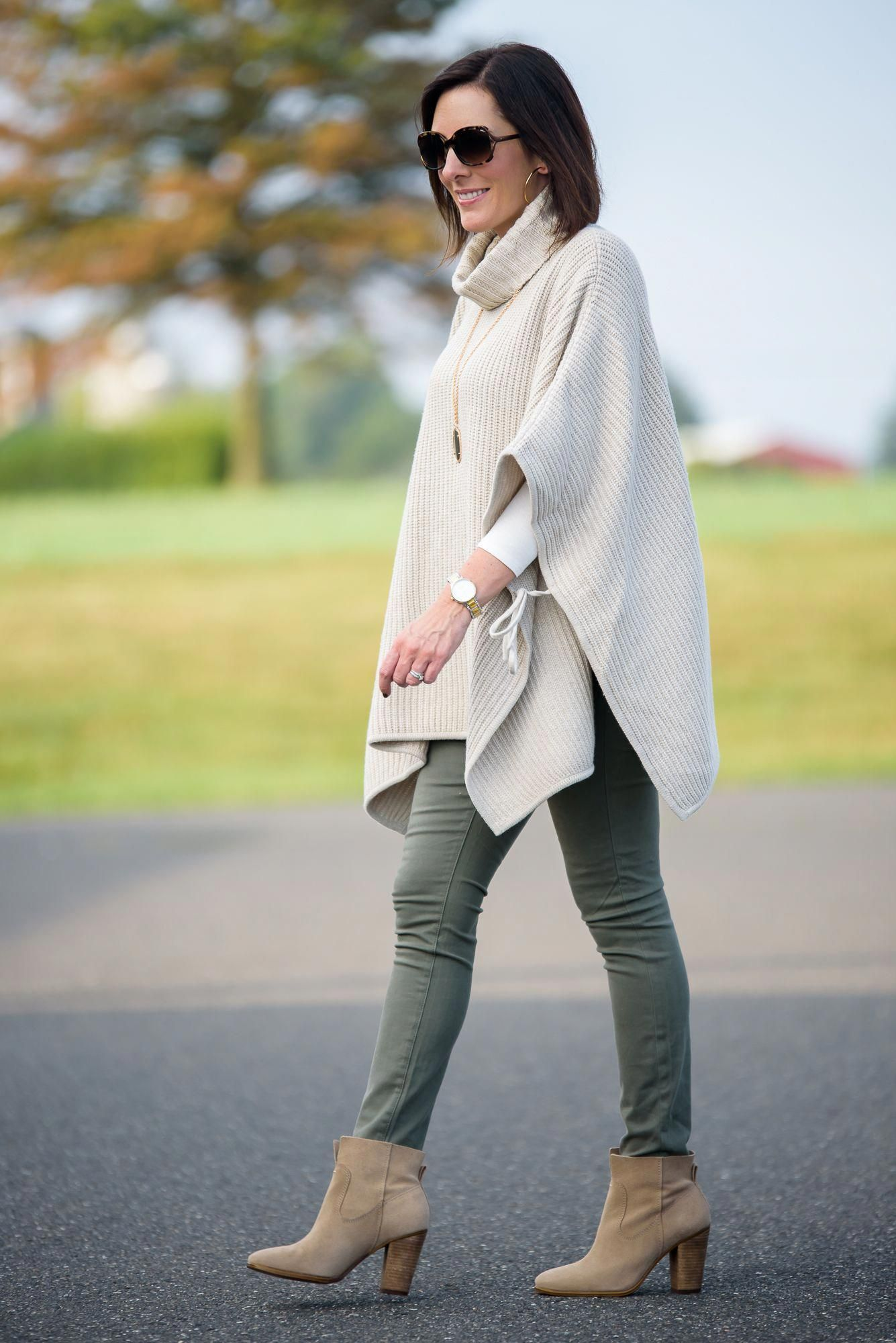 I teamed up with 3 other fashion bloggers to share 4 Ways to Wear Ankle Boots this Fall! My take: with a chunky side tie poncho and olive skinny jeans! Click through for 3 more ways to wear ankle boots! #fallfashionforwomenin20s #skinnyjeansandankleboots I teamed up with 3 other fashion bloggers to share 4 Ways to Wear Ankle Boots this Fall! My take: with a chunky side tie poncho and olive skinny jeans! Click through for 3 more ways to wear ankle boots! #fallfashionforwomenin20s #skinnyjeansanda #skinnyjeansandankleboots