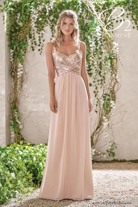 ee4988a040ea Cheap Rose Gold Sequins Top Long Chiffon Beach 2019 Bridesmaid ...