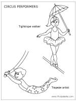 Kleurplaten Circus Trapezes.Tightrope Walker And Trapeze Artist Kleurplaten