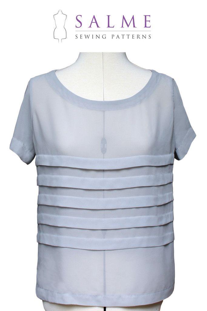 Digital Sewing Pattern - Loose Fitting Pleated T-shirt – Salme ...
