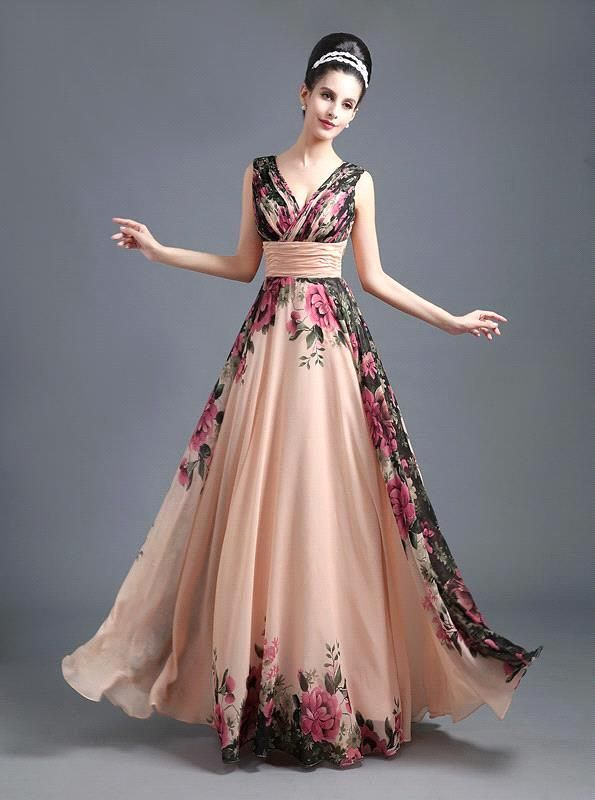 c12595bc9ed Compare Prices on Flower Print Pattern Long Prom Dresses- Online ...