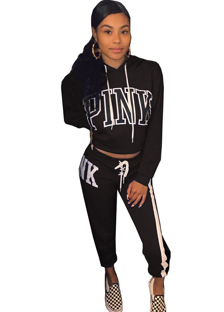 668fd0ed1749 PINK Hooded Top Sporty Two Piece Pant Set Pant Set Women Set Sexy Lingeire