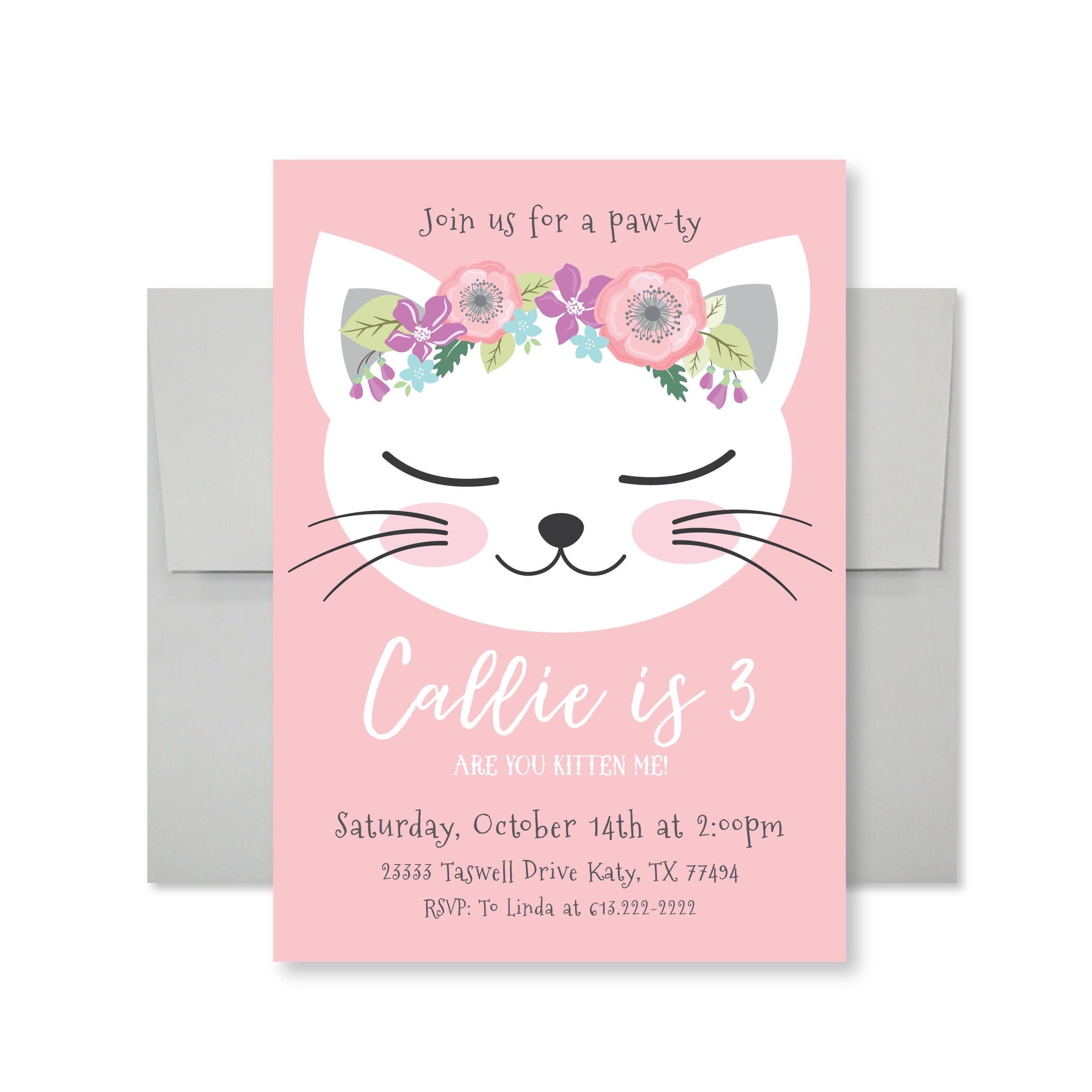 Cat Birthday Party Invitation, Kitten, Cat Birthday Girl Printable ...
