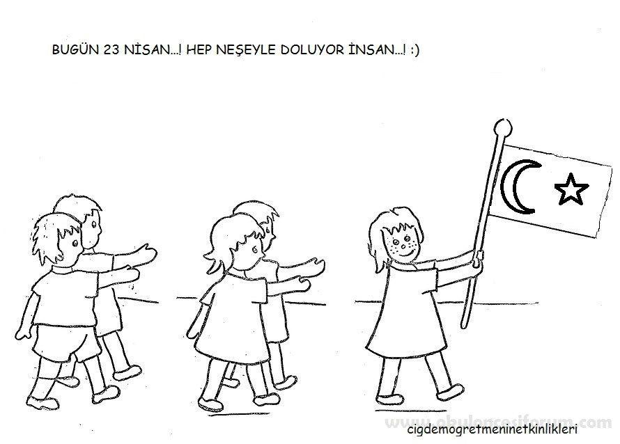 23 Nisan Boyama Sayfaları Atatürk School Ve Learning