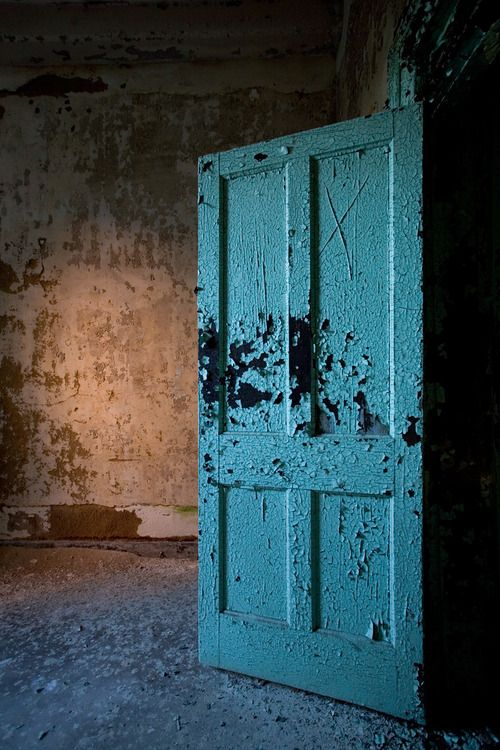 blue door in the Walker Building at Georgia's Central State Hospital,