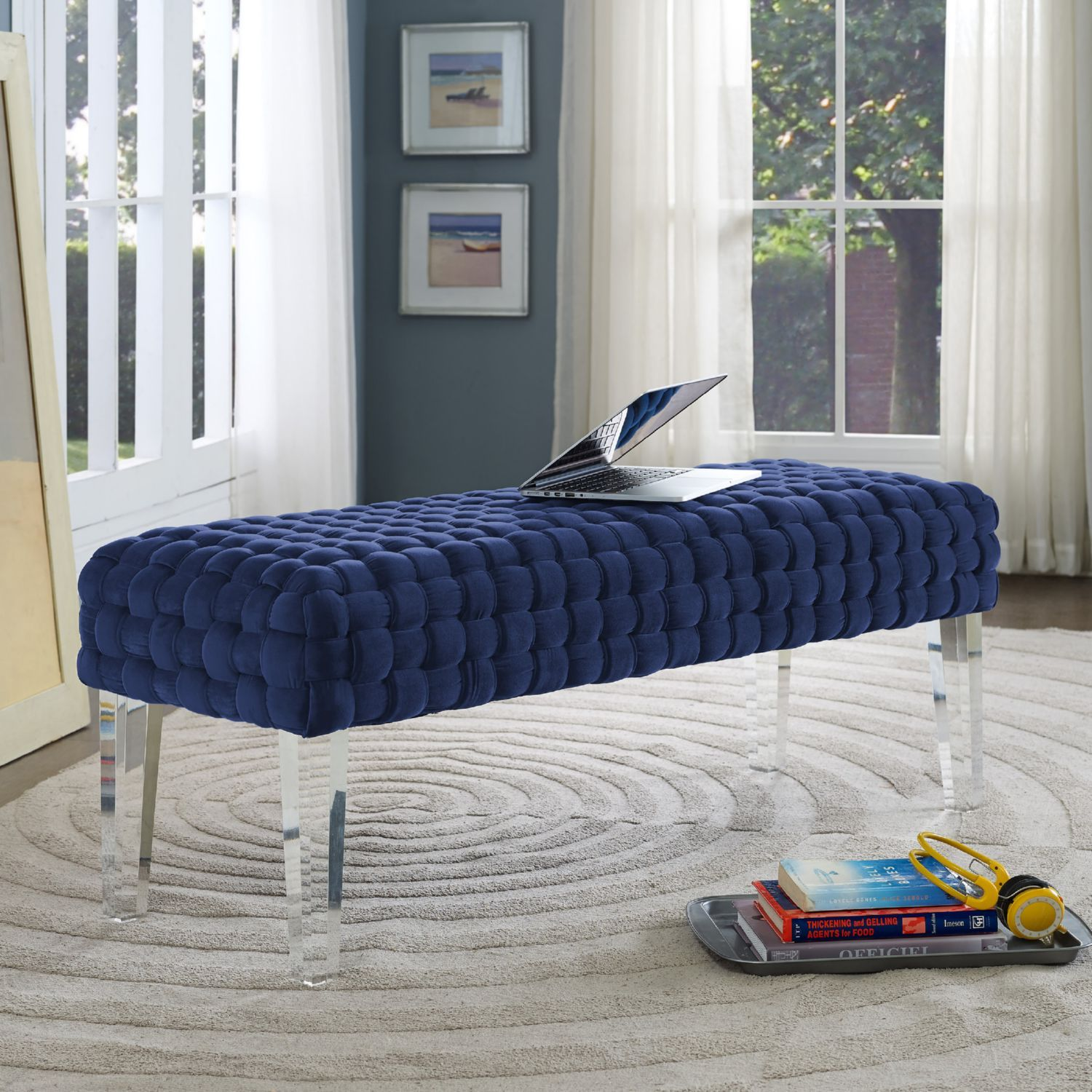 acrylic bedroom furniture. TOV Furniture Sal Bench In Woven Navy Velvet W/ Acrylic Legs Bedroom