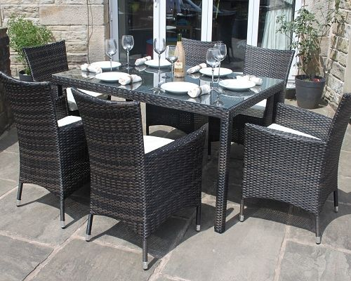 Merveilleux Brown Rattan Outdoor 6 Seater Garden Furniture Dining Set