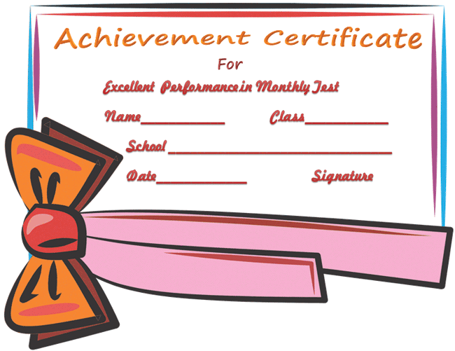 certificate of achievement template for passing test certificate