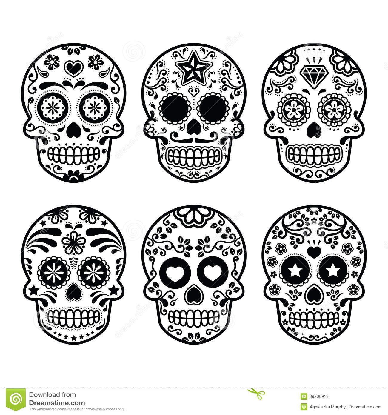 Mexican sugar skull Dia de los Muertos icons set Stock Photos