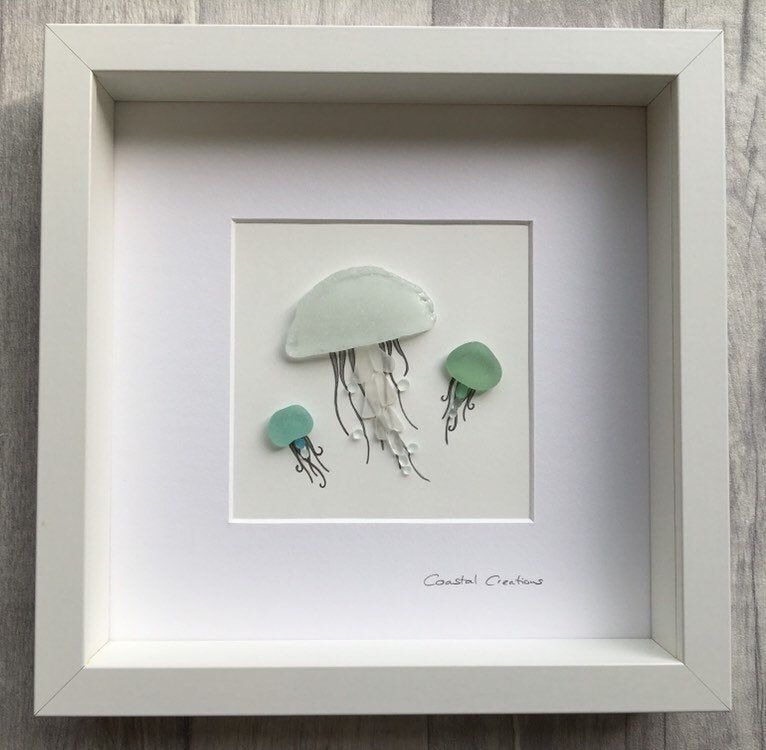 Sea glass art, jellyfish, jellyfish wall art