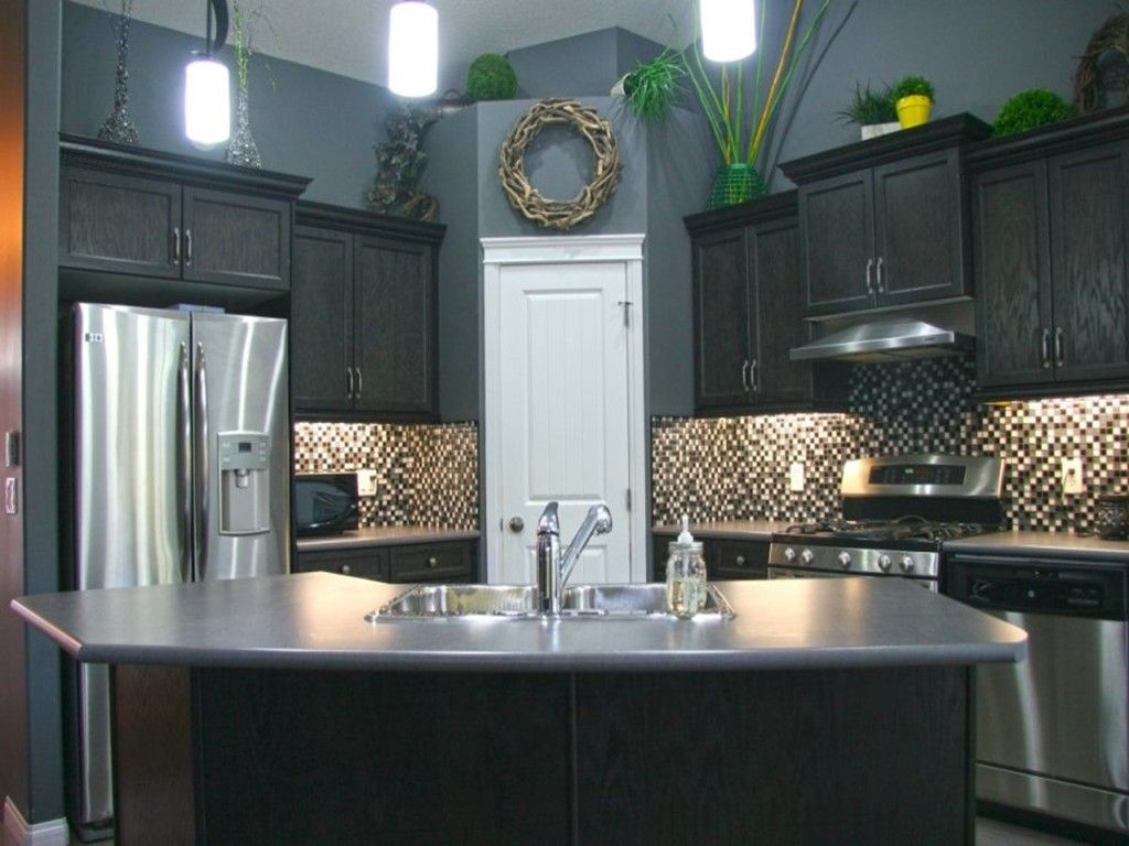 Kitchen Black Wooden Cabinets Gray Wall Color Paint White Small Grey Kitchen Walls White Kitchen Rustic Small Kitchen Cabinets