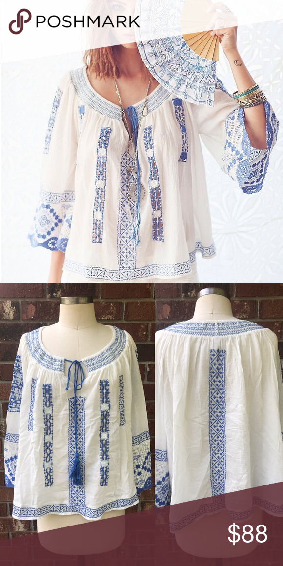 FREE PEOPLE Silver Springs Embroidered Top New without tags, cotton, * inner tag cut to prevent store returns Free People Tops
