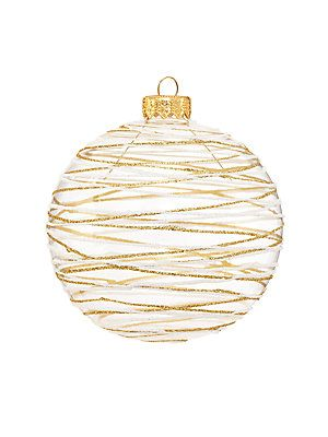 Andrey Filatov Striped Glitter Glass Ball Ornament