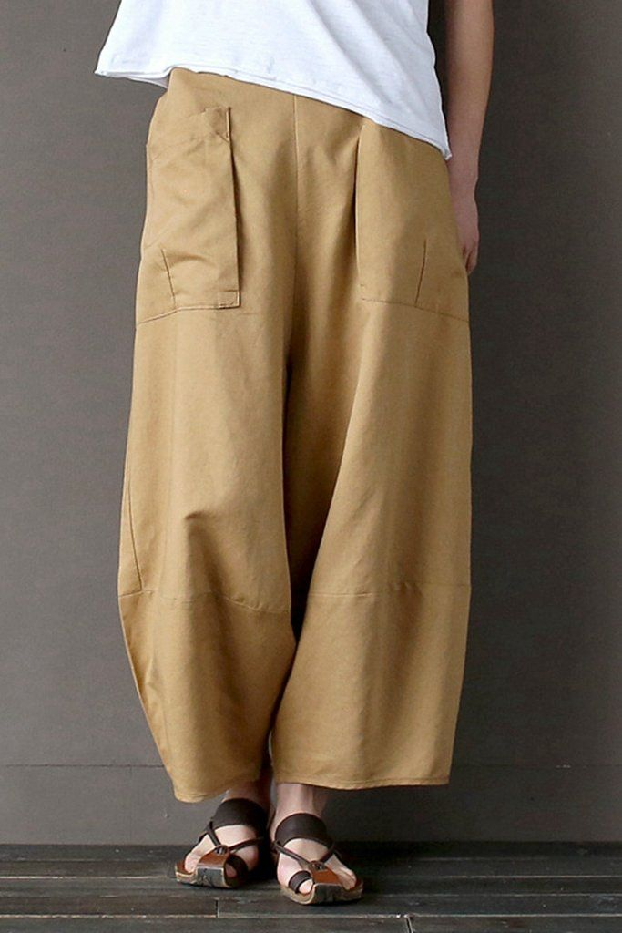 0b112b7ddc4 Khaki Loose Cotton Linen Casual Ankle Length Pants Women Clothes P1203