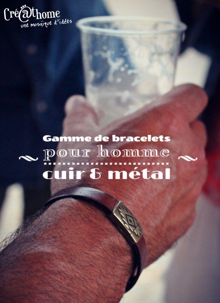 Nouveau ! Créathome propose aussi des articles pour ces messieurs. Offrez un bracelet de cuir avec un ornement en métal. De 12 à 15 euros, à la boutique, les dépôts-ventes et sur les marchés.