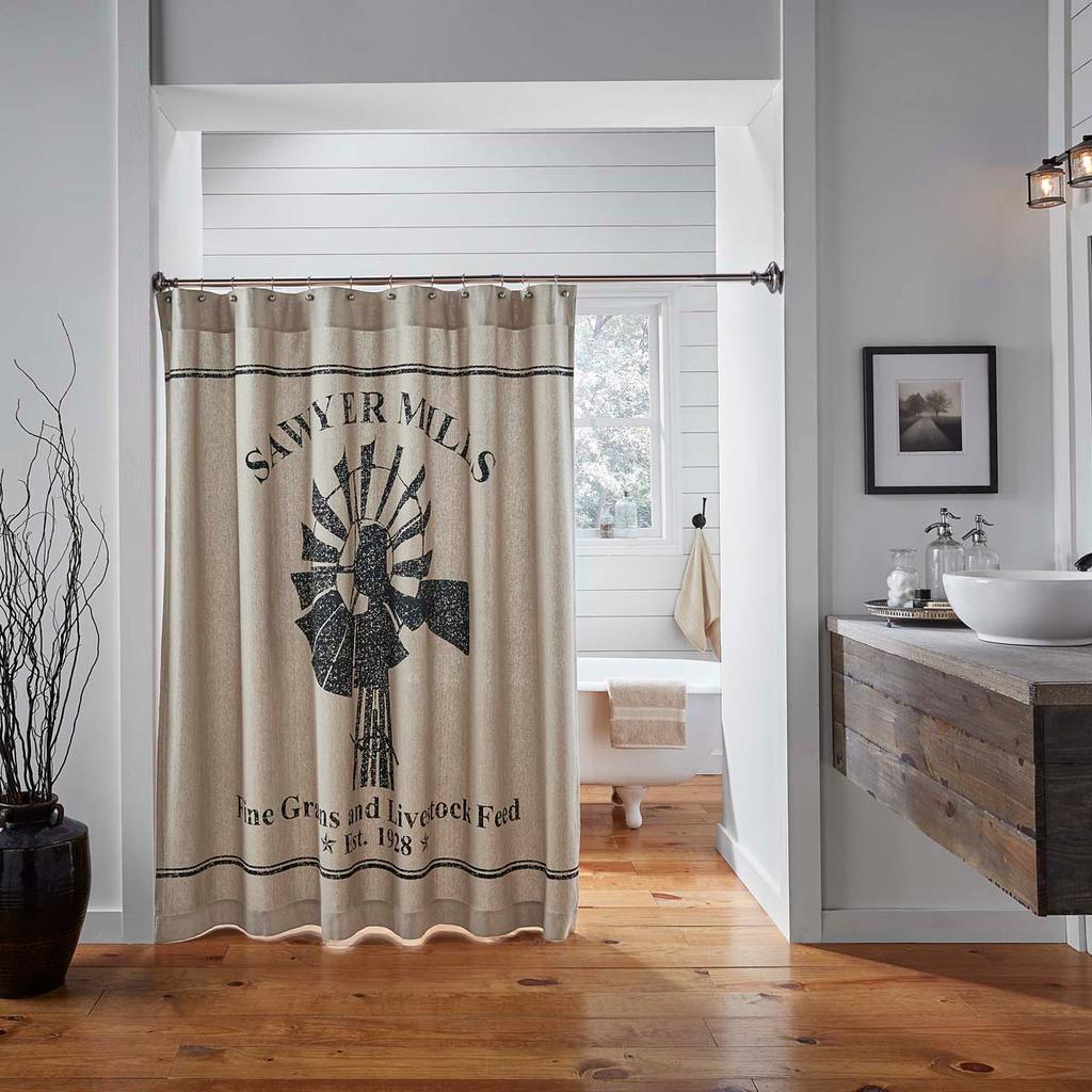 Sawyer Mill Windmill Shower Curtain Farmhouse Shower Tan Shower