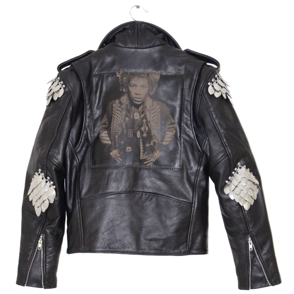 Jimi Hendrix Engraved Leather Back Patch And Quad Hand Made Metal Shoulder Elbow Pieces By Understated Leather Leather Jackets Vintage Leather [ 1136 x 1136 Pixel ]