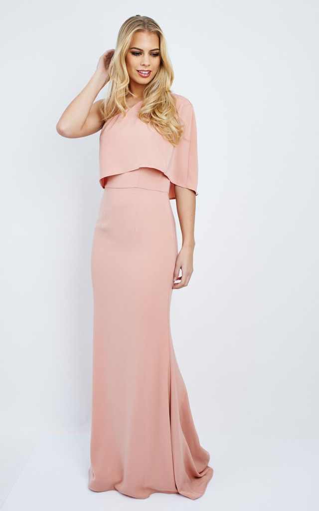 Laura Nude Pink One Shoulder Maxi Dress Silkfred Bridesmaid