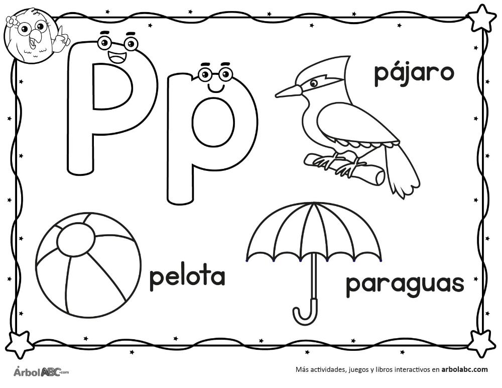 Letra P Para Colorear Arbol Abc En 2020 Trazos De Letras Actividades Con La Letra P Actividades De Letras