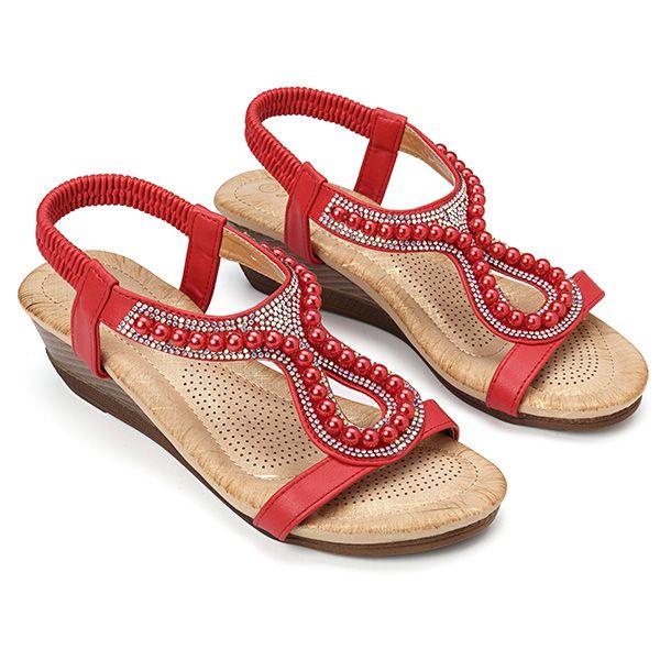 9a26627d71ca High-quality Women Pearl Rhinestone Elastic Sandals - NewChic ...