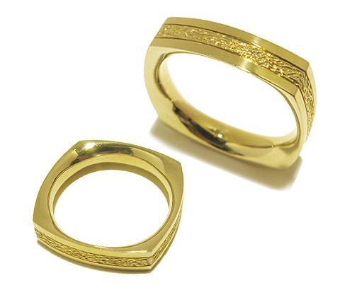 Hochwertige eckige handgefertigte individuelle Trauringe/ Eheringe aus 585er Gelbgold.