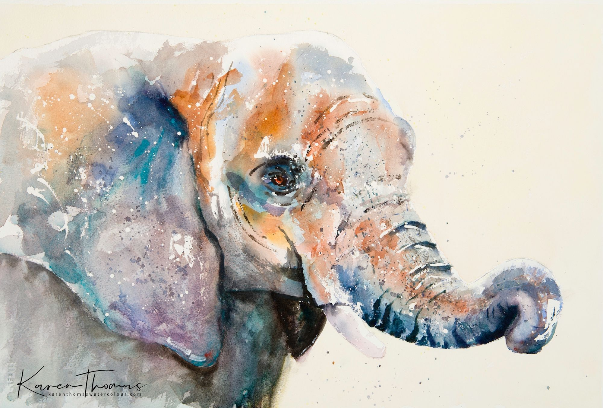 HELEN APRIL ROSE Limited Print of my ELEPHANT art watercolour 450