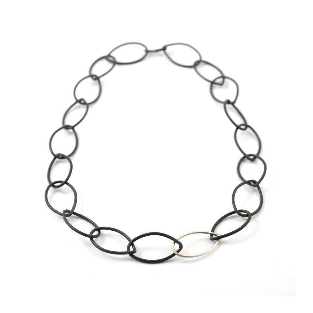 audrey necklace // little black necklace // black steel and silver chain link necklace