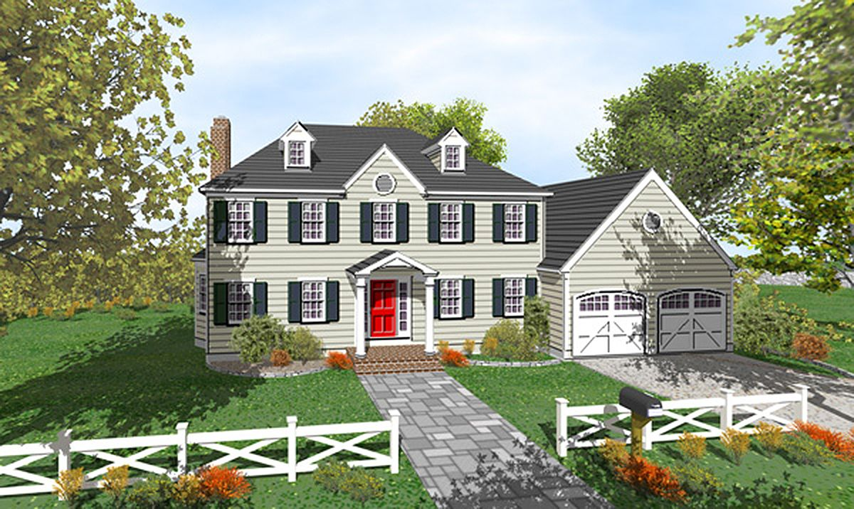 Plan 9551dm Two Story Colonial With Open Floor Plan Colonial House Colonial House Plans Architectural Design House Plans