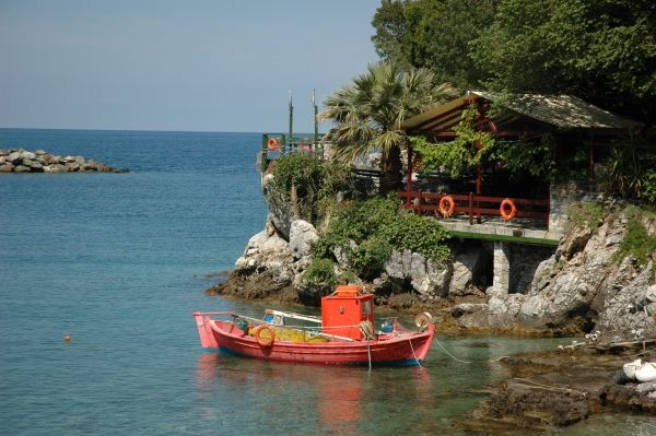 The Damouchari Bay where parts of the Abba movie 'Mamma Mia' was filmed. Pelion, Greece. Peter Krog