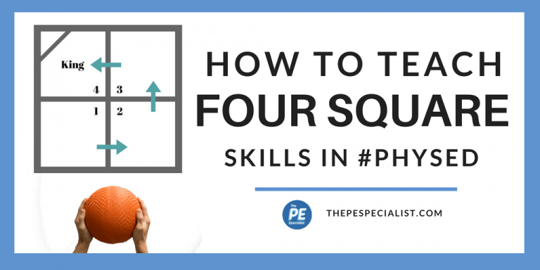 How To Play Four Square 4 Square In Physical Education Class In 2020 Teaching Physical Education Curriculum Four Square